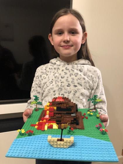 Immy's Lego volcanic eruption