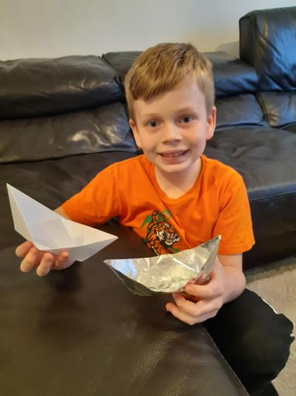 Ethan's boats for his experiment