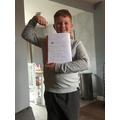 Harry proud of his super fractions work!