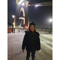 Wrapped up warm, Leo visited the bridge!