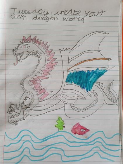 A beautiful dragon drawing by Lily.