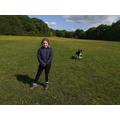 Lauren and her flying dog