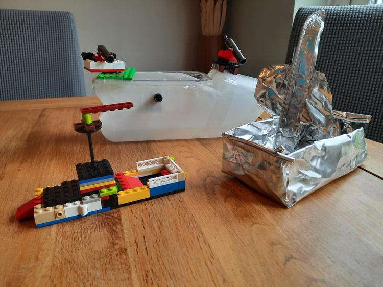 Dylan's boats - plastic, Lego and foil