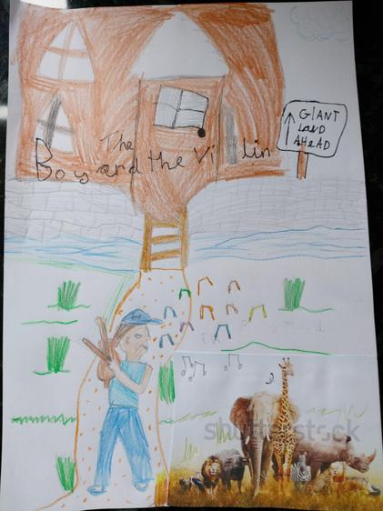 A very artistic drawing of 'The Boy and his Violin' book cover by Amali.
