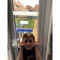 Leo proudly presents his window experiment