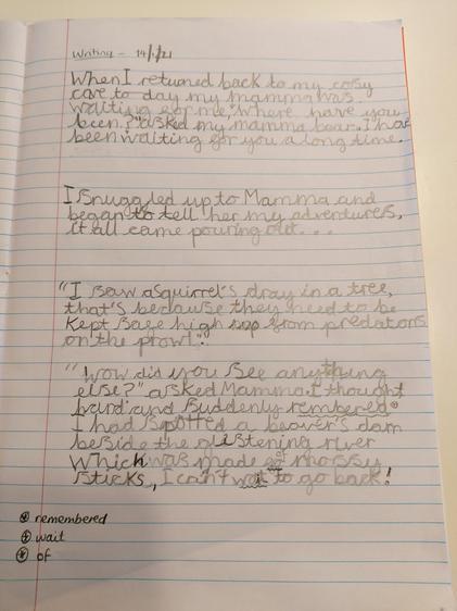 Amali's writing. It sounds like baby bear had lots of fun!