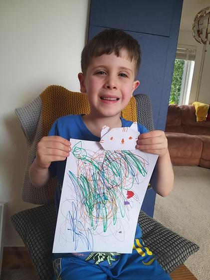Harry expressing himself through art.