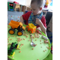 Digger and truck themed messy play