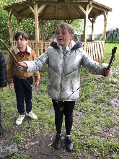 Making skipping ropes from sticks and vines