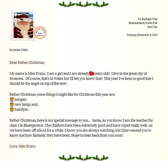 Here is the email I sent to Santa!