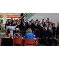 Mrs Marshall conducting the choir.