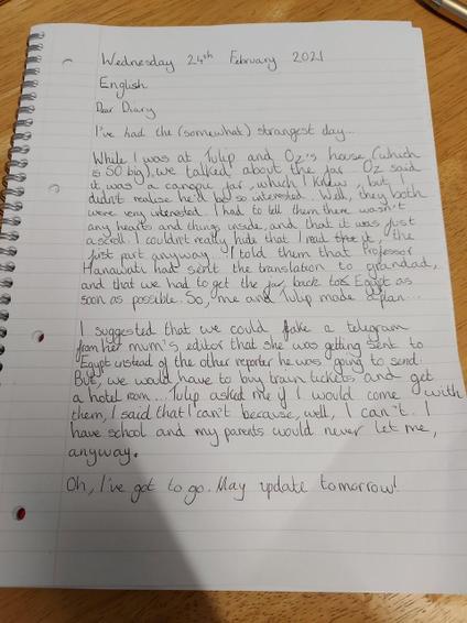 Olivia diary entry