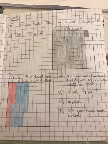 Hannah beautifully presented maths