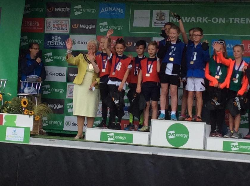 Silver medals on the podium