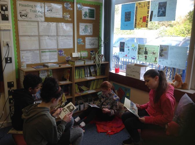 Year Six Children enjoying the Reading Ninja Training Zone