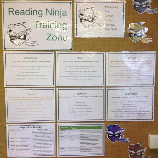Our Reading Ninja board showing different domains and question types
