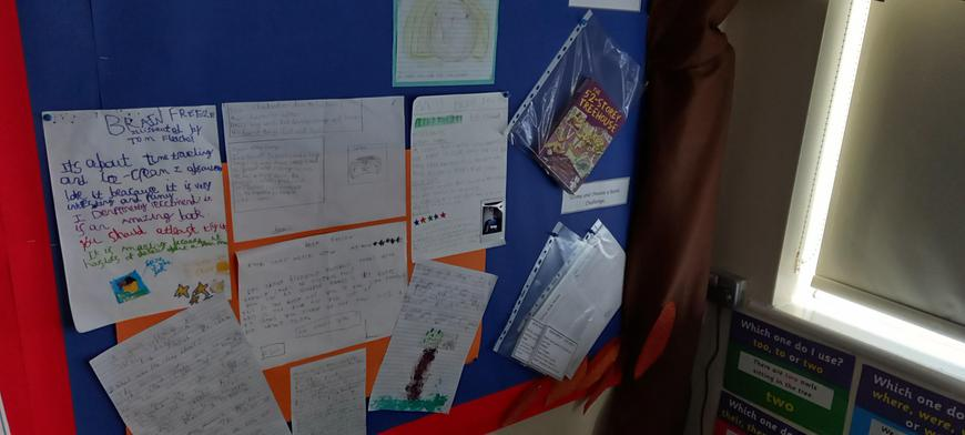 It's great to see the children completing book reviews to add to our wall.