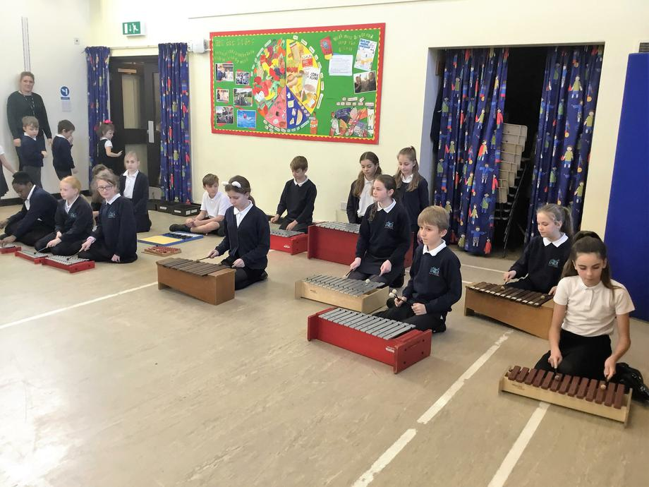 Year 6 Marimba playing in assembly