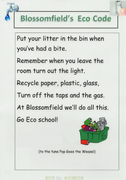 This is our Eco-Code song, written by a past pupil