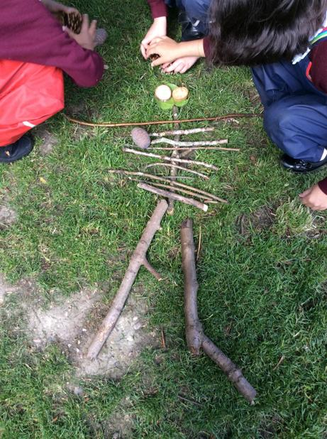 May- Making skeletons at Forest School