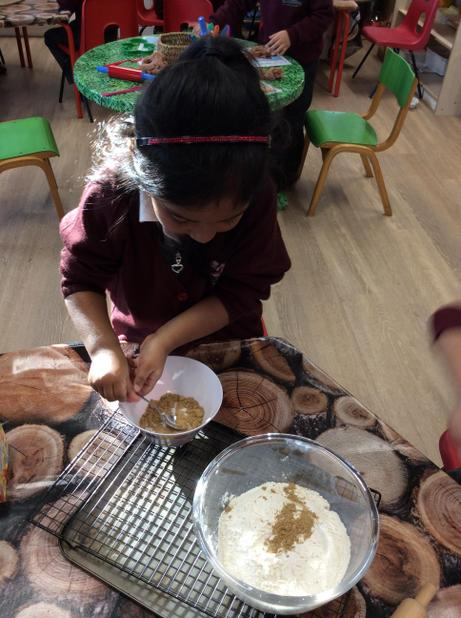 January - Making gingerbread men in Reception