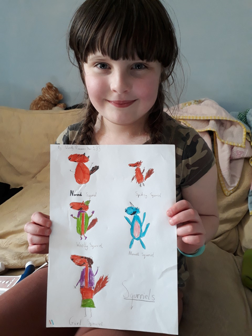 'Spiky. Girl, Narwhal & Wooly Squirrel' - Wendy 3S