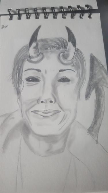 'Mrs Grieve' - drawn by her daughter Wednesday