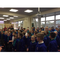 Children singing Mrs Marriott's favourite songs