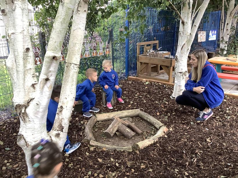 We sat around the campfire! It's really important not to get too close!