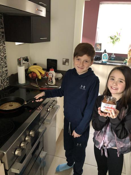 Pancakes and Nutella - yum!
