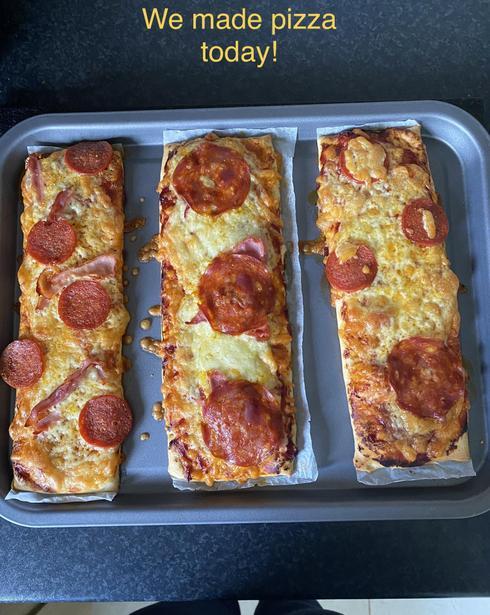 Yummy pizza made by Ella!