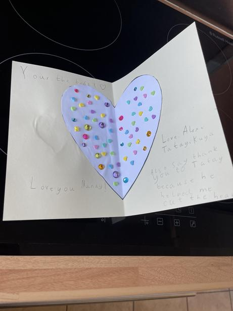 The inside of Alexis' card