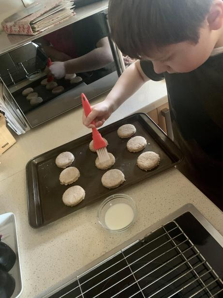 Concentrating hard on baking!