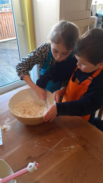 Busy baking together.
