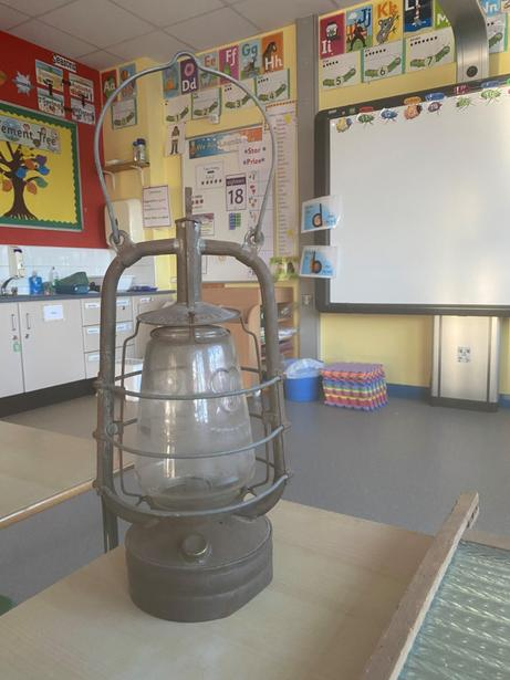 An oil lamp.