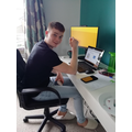 Drew working from home