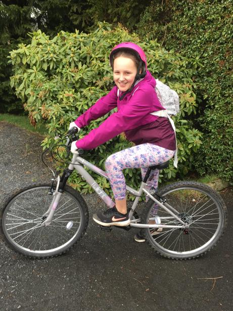 Carys out for a bike ride.