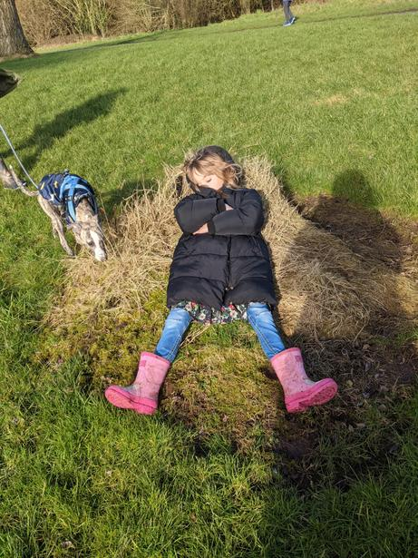 Juliana must be tired after a long walk!