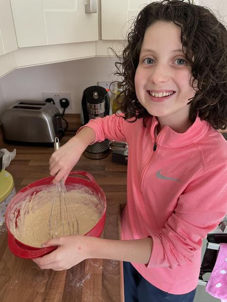 Mixing the batter for pancakes