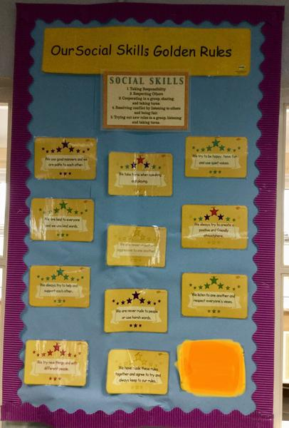 Social skill group rules ; made by the children.