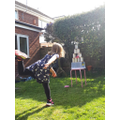 Clara practising her aiming.