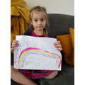 Starla has drawn her friends on a rainbow.