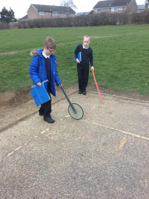 Using a trundle wheel to work out the width of the playground.