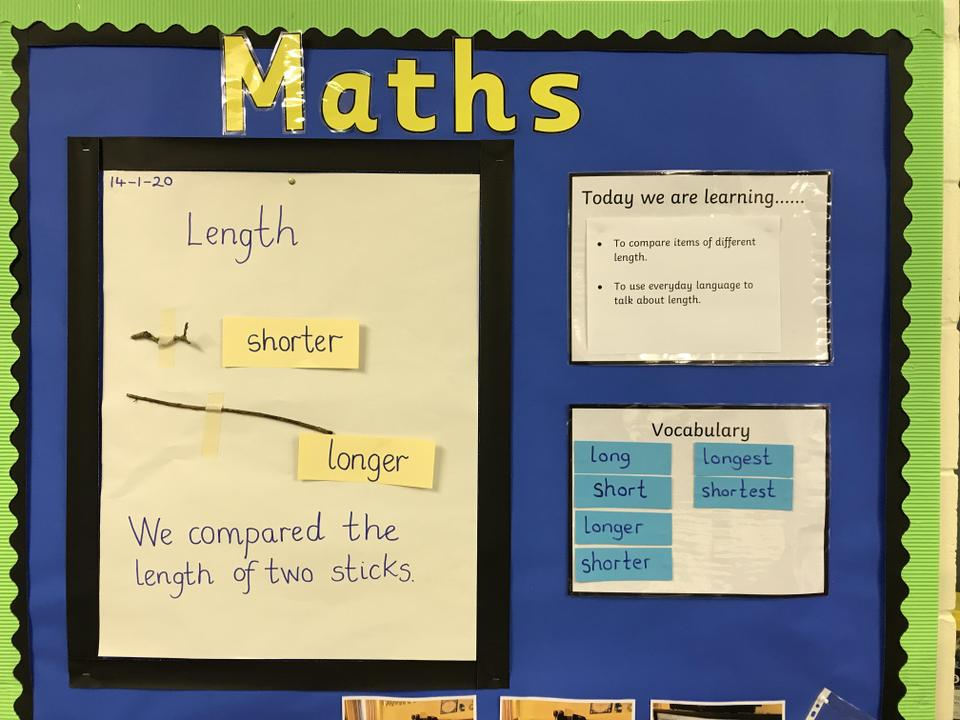 Using the words longer and shorter.