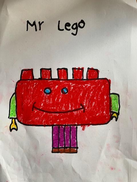 CB (2N) has used an Art lesson to draw Mr Lego