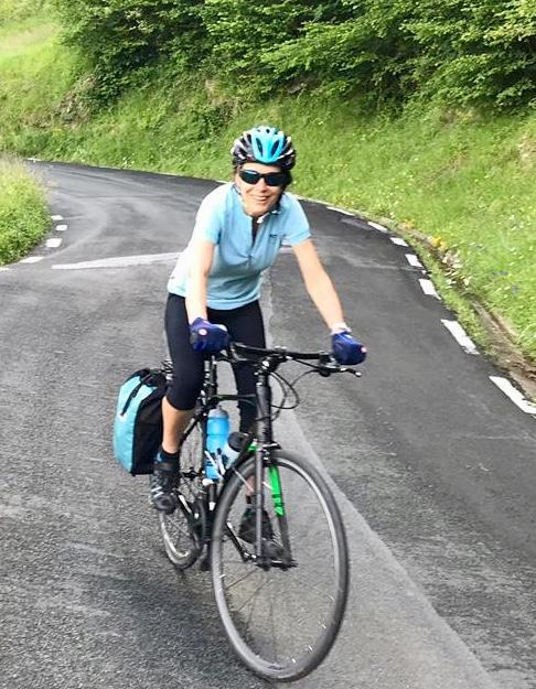 Here is Mrs Horner Cycling in the Outer Hebrides