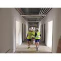 Walking along the lower junior corridor
