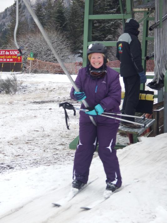 Mrs Storey enjoys Skiing, here she is in France