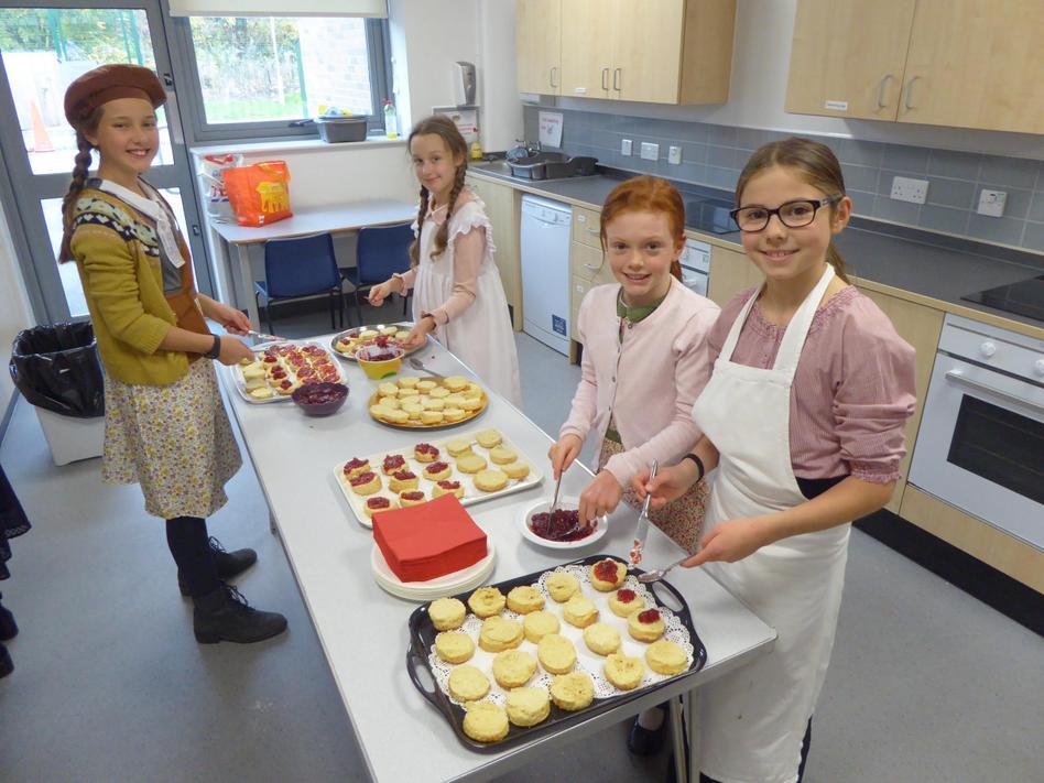 Y6 preparing scones for our visitors