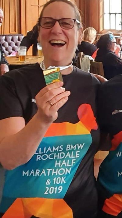 Here is Mrs Anderson after Rochdale half marathon